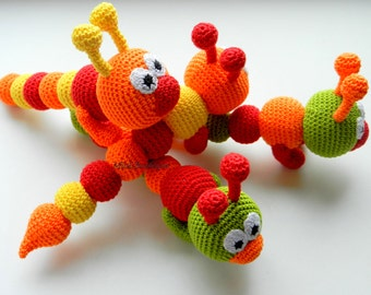 Crochet baby toy, Teething baby toy Grasping and Teething Toys Crochet toy rattle Caterpillar Baby Toy Crocheted Caterpillar