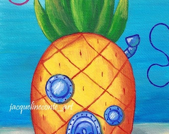 Spongebob Squarepants - Pineapple House - Acrylic Painting - Print