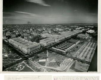 Washington DC city aerial view antique photo