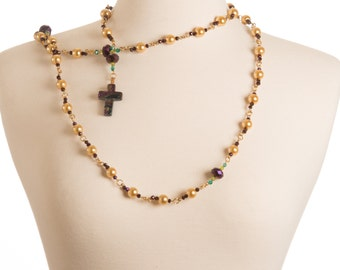 Couture Pearl Rosary with Dichroic Glass Cross (Traditional 5 Decade)