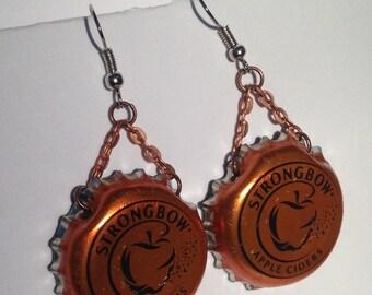 Strongbow bottle cap earrings