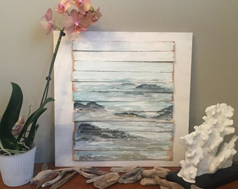 Reclaimed Wood Fine Art Oceanscape, Rocky Ocean Shore, Awakeyoursoul, Acrylic painting, waves crashing