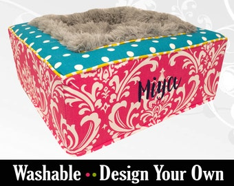 Colorful Luxurious Pet Bed for Dogs or Cats - Ultra Soft Blanket Center - High Quality Bed with Fabrics of your Choice - Washable!