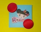 Rebel Red Satin Button Ea...
