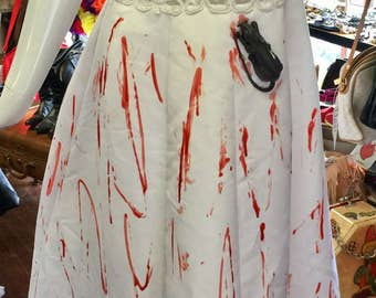 Vintage Custom Made Bloody Wedding Gown/Dress Blood Eating Rats Attack Bride - Bloody Bride-Zombie-Vampire-Left At Alter Bloody Dress Sz 10