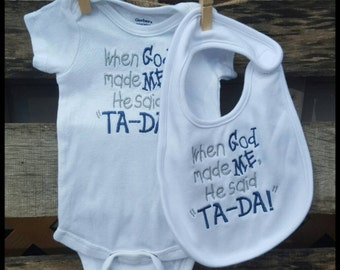 Baby Embroidered Onesie, Baby Embroidered Bodysuit, Christian Onesie, Baby Bib, Embroidered Bib and Onesie, Embroidered Baby Bib, Baby Bib