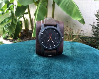 Dark Brown Distressed Leather Cuff Watch with Date Feature