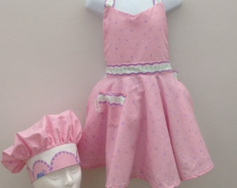 Girls chef hat and apron set|Kids apron|Girls apron|cute apron|sweetheart apron|FREE SHIPPING