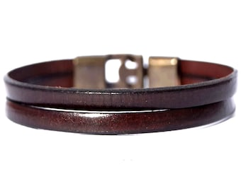 Custom mens leather bracelet - Husband Gift - Gift for HIM - Rustic Brown - Mens Jewelry - Personalized Leather Bracelet - Fathers Day Gift