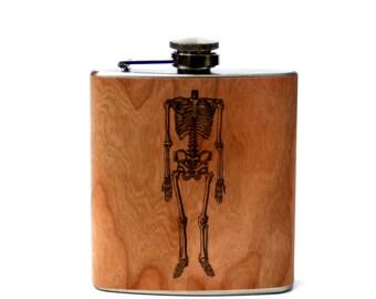 skeleton flask, anatomy gift, med student, doctor, dr. wood flask