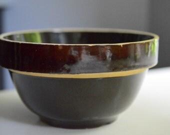 "Dark Brown Stoneware Bowl Primitive 6.75"""