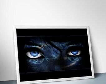 "Behind Her Eyes : digital art, photo manipulation, poster print, 24"" X 36"", 16"" X 24"", 12"" X 18"", 8"" X 12"""