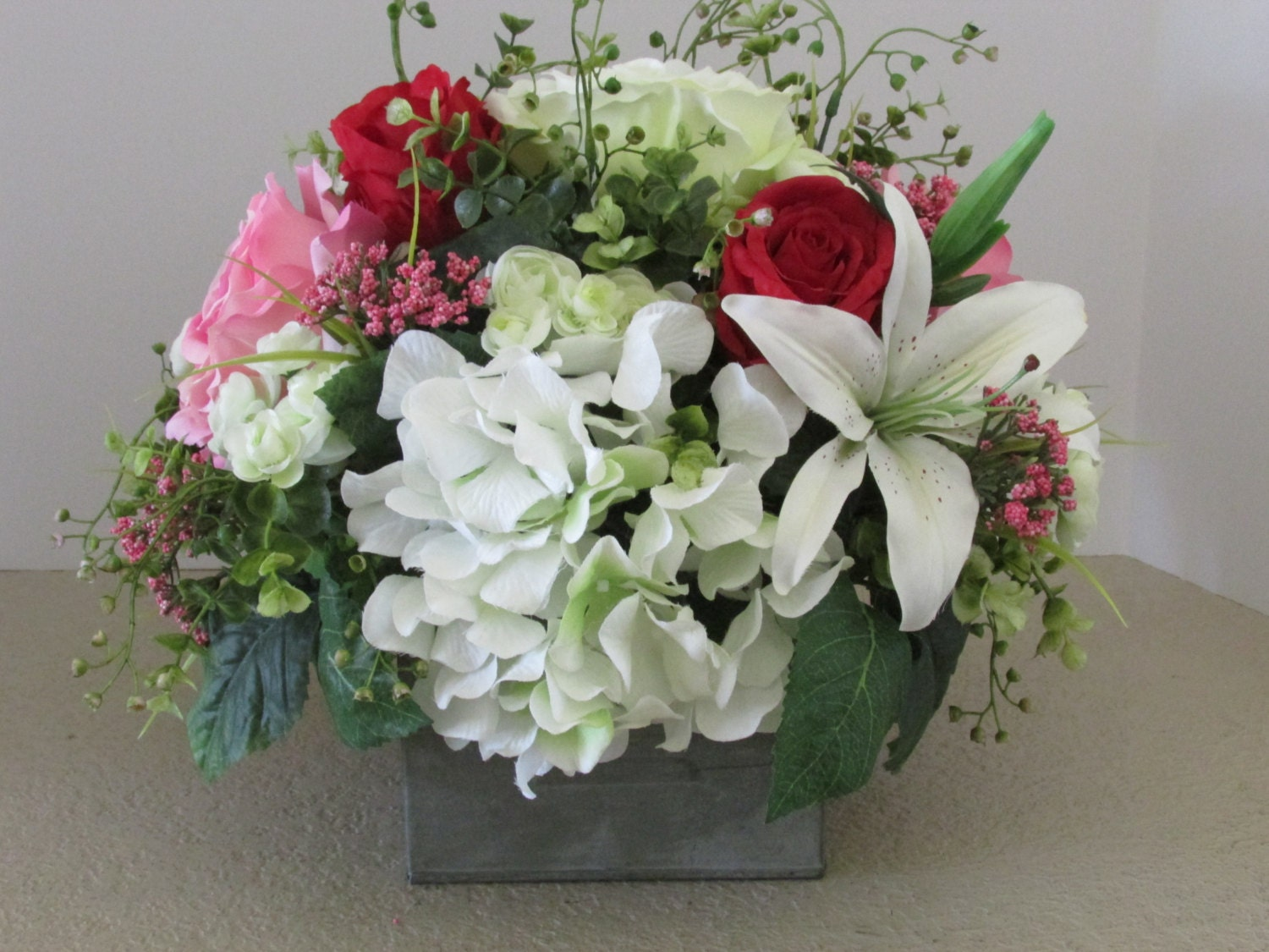 Silk flower arrangement metal container floral centerpiece