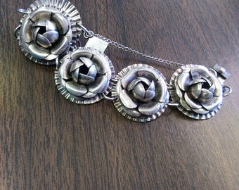 Heavy Vintage Flower Sterling Silver Bracelet