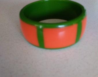 Lucite Orange Green Bangle Bracelet