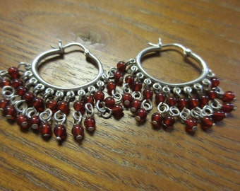 Sterling Silver Garnet Dangle Earrings