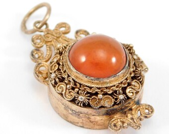 Chinese Silver Vermeil Filigree Carnelian Locket Pendant