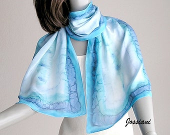 Hand Painted Silk Scarf, Powder blue, Aquamarine Turquoise Cyan, Unique JOSSIANI Creation, ready to ship.