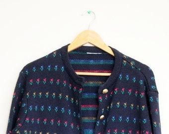 Vintage 80's Navy Blue Patterned Cardigan/Sweater