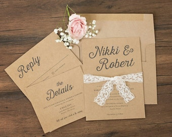 Rustic Kraft and Lace Wedding Invitations \\ Harmony Collection \\ Sample