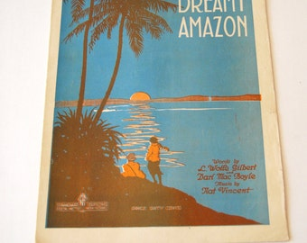Vintage Sheet Music, Dreamy Amazon
