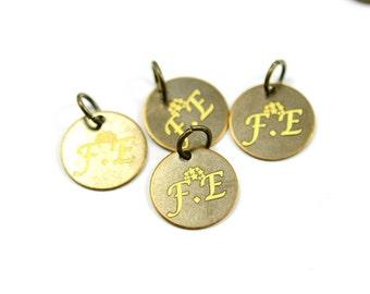 150 pcs. Antique Brass 12 mm Custom Laser Engraved Logo Round Disc