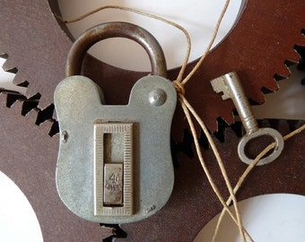 Antique Padlock and Key 4 Levers Collectible