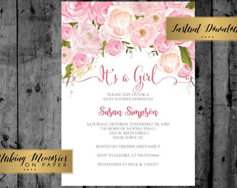 Pink Floral Baby Shower Invitation, INSTANT DOWNLOAD Watercolor Flowers, Floral Invitation, Shower Invitation, DIY, Flower Invite
