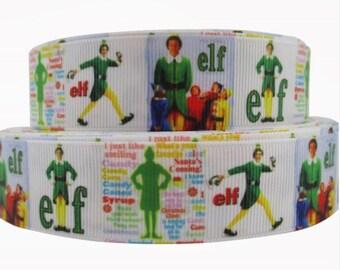 "By The Yard 1"" Christmas Movie ELF Grosgrain Ribbon Great for Hair Bows Scrapbooking Lanyards Lisa"