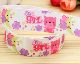 BTY 7/8 Inch Baby Shower It's a Girl Grosgrain  Ribbon Hair Bows Scrapbooking Lanyards Lisa