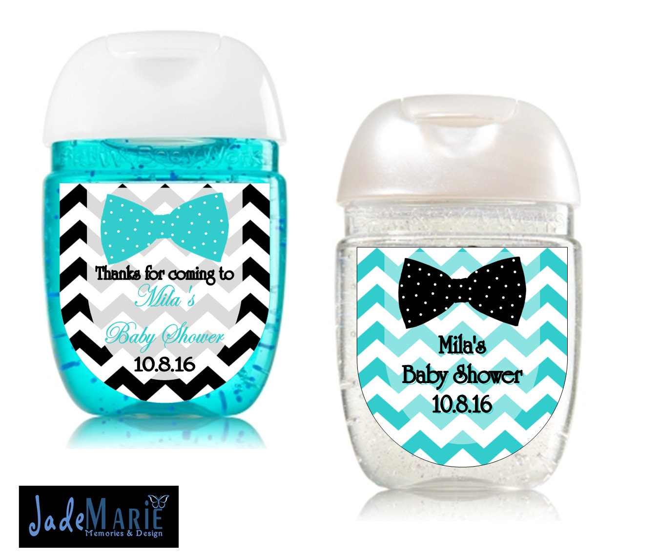 Bowtie Hand Sanitizer Labels Baby Shower Favors Birthday