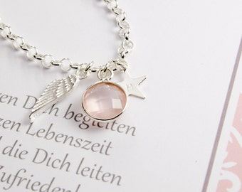 Chain to the baptism with engravings Rose Quartz leaf