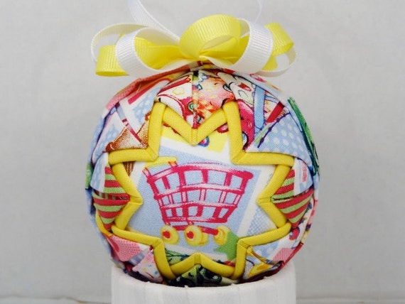 Shopkins Shopping Cart Quilted Ornament Folded Fabric