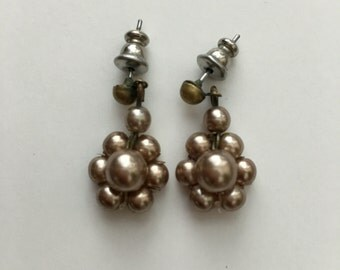 Vintage Pierced Sterling Silver Flower Earrings