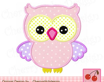 Owl Machine Embroidery Applique Design -for 4x4 5x5 6x6 inch