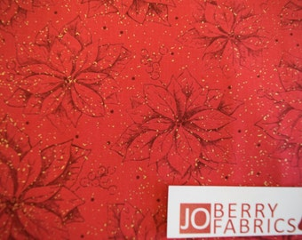 Red Tonal Poinsettias from Joy to The World Collection by Lisa Conlin for Quilting Treasures.  Quilt or Craft Fabric, Fabric by the Yard.