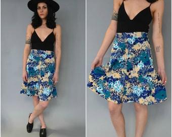 1970s handmade high waisted blue and tan floral skirt