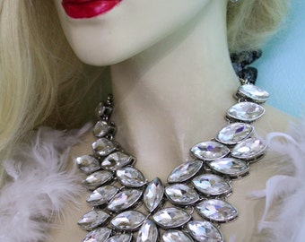 Statement Necklace Rhinestone Crystal Earring Set Chunky Prom Bridal Jewelry