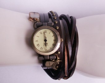 2 x dark brown leather - wrap watch braided with rivets