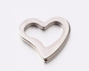 10 piece stainless steel heart pendant, 15 x 14 mm