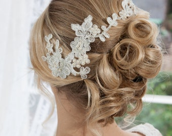Lace double comb headpiece with swarovski pearls and crystals