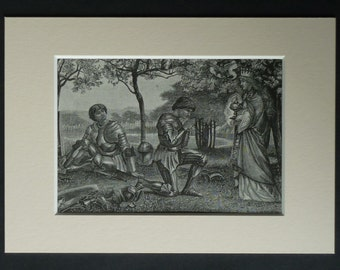 1880s Antique Henry Ryland Print of Sir Percival and Hector de Maris, Arthurian Legend, King Arthur, Available Framed Knight Art Round Table