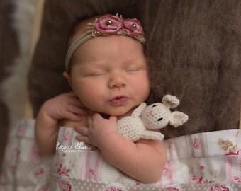 Newborn Beige Mauve elastic headband, antique pink flower Baby Headband, Beige Pink newborn headband