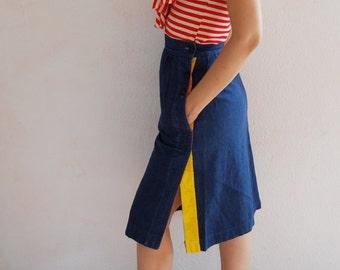 Denim Side button skirt