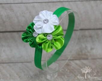 St Patricks Day Headband - Green Flower Headband - Baby Headband - Adult Headband - Green Headband