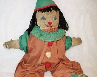 SHOP4FUN Antique Rag Doll Clown Primitive Toy Handmade Folk Art