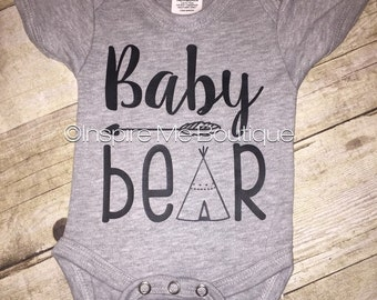 Baby bear, bear family, bodysuit, layette, one piece, baby shower gift, baby coming home, new baby, bear family