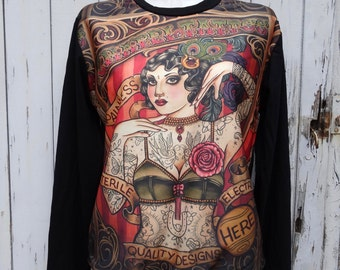 Vintage Tattooed Lady Sweater - Size 10 12 14 16 - Jumper Top Long Sleeve Alternative Retro Pin Up Tattoo Poster