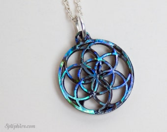 Flower of Life Necklace - Small - Flower of Life Pendant - Paua Shell Abalone Necklace - Laser Cut Necklace