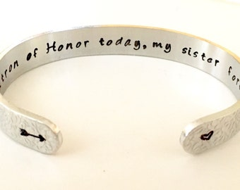Matron of Honor Gift/Maid of Honor/Bridesmaid Jewelry/Sister/Wedding Party Gifts- Personalized Aluminum Cuff Bracelet. Personalized Jewelry.